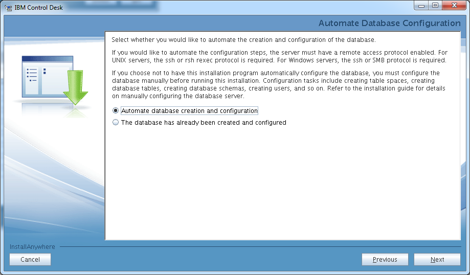 control-desk-service-provider-edition-installer-db2-create-database