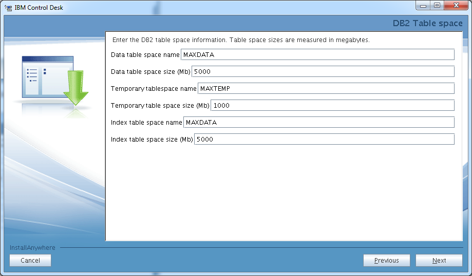 control-desk-service-provider-edition-installer-db2-table-space