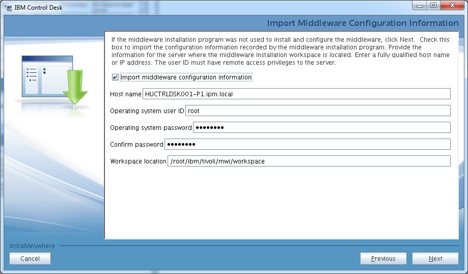 control-desk-service-provider-edition-installer-import-middleware-configuration