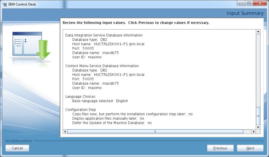 control-desk-service-provider-edition-installer-input-summary